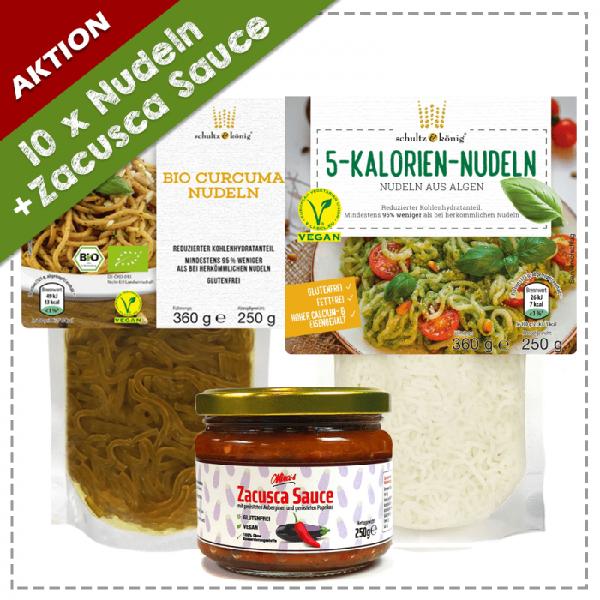 5x 5 Kalorien Nudeln, 5x Bio Curcuma Nudeln, 1x Zacusca Sauce