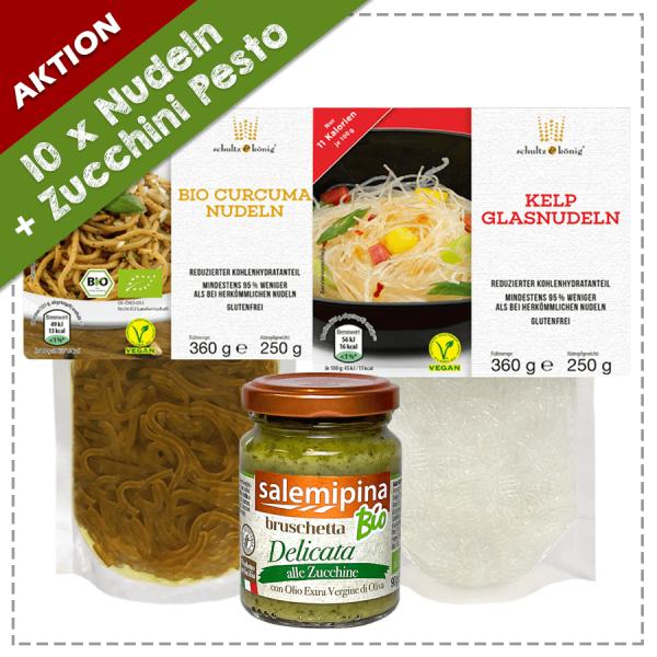 5 x Kelp Nudeln 5 x Bio Curcuma 1 x Zucchini Bruschetta