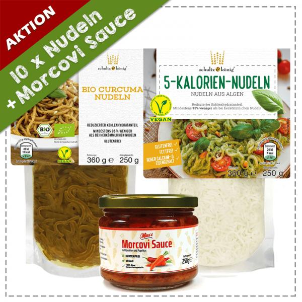5x 5 Kalorien Nudeln, 5x Bio Curcuma Nudeln, 1x Morcovi Sauce